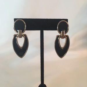 Vintage Black Silver Drop Dangle Pierced Earrings